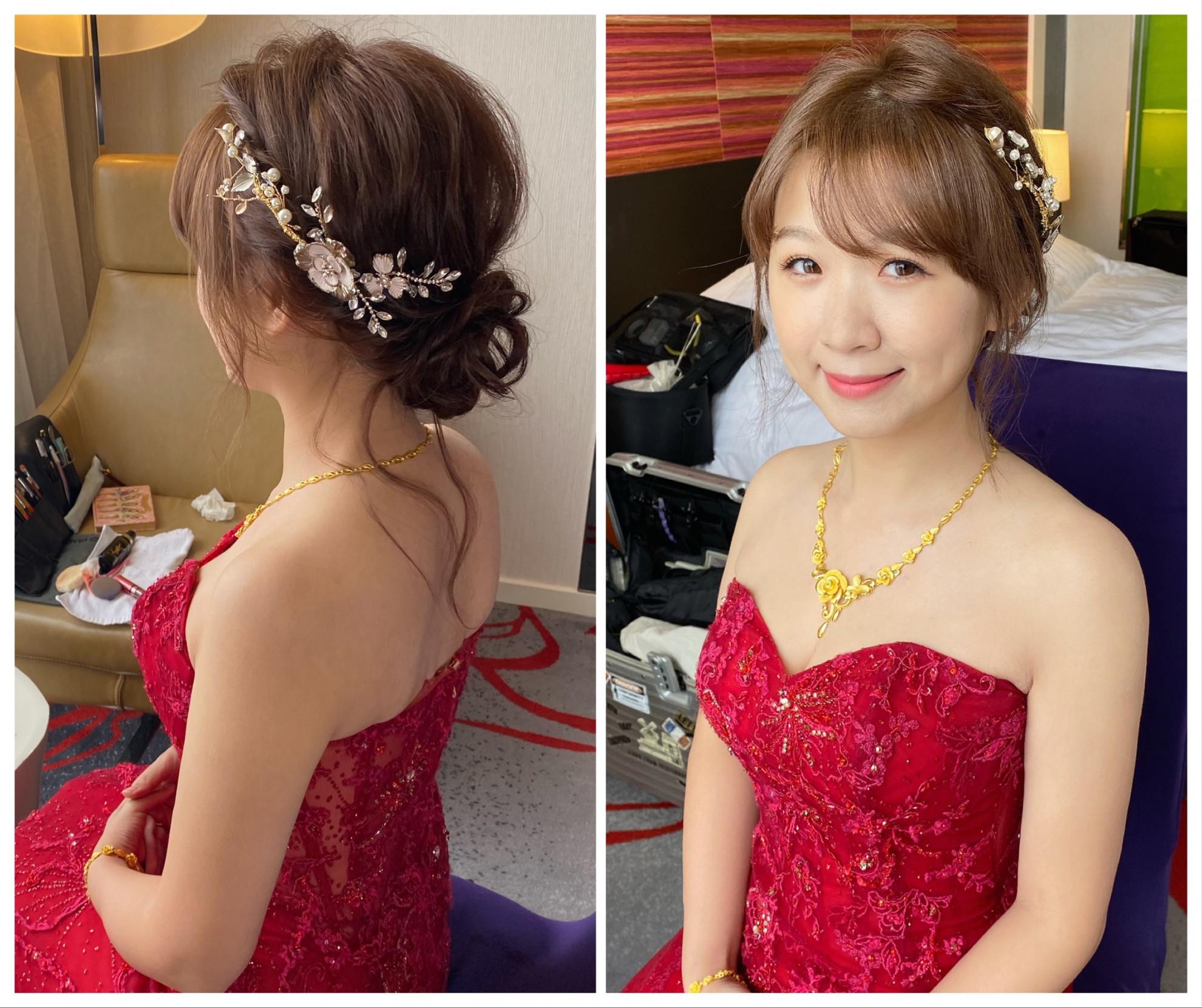 新竹新秘 盤髮造型 婚禮造型 甜美造型
